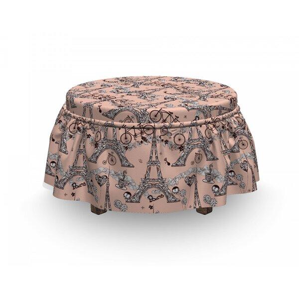 Eiffel Retro Landmark 2 Piece Box Cushion Ottoman Slipcover Set By East Urban Home