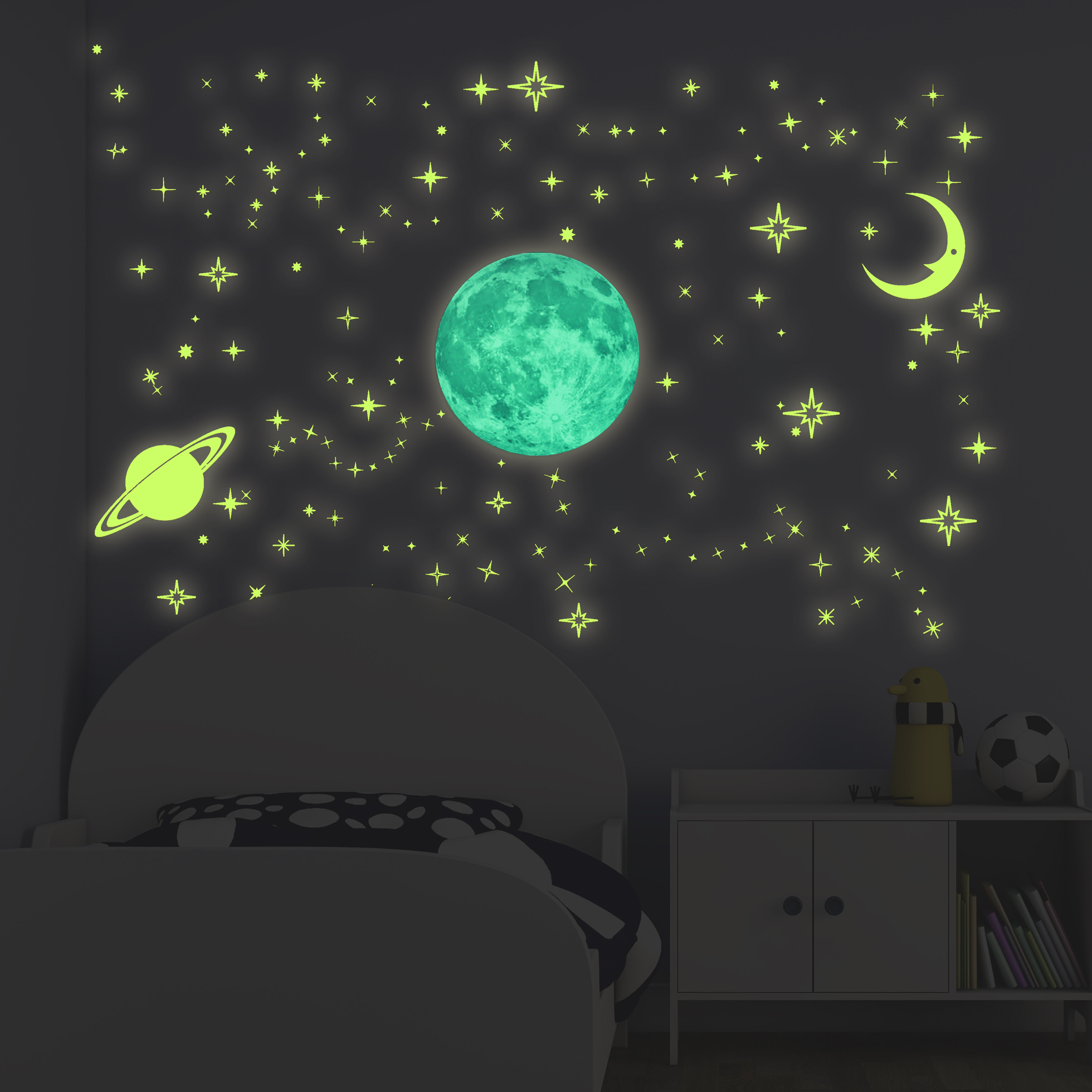 Glow in the Dark SPACE Stickers ROCKET MOON & STARS Bedroom Decoration Free  Post Home & Garden patterer Home Décor