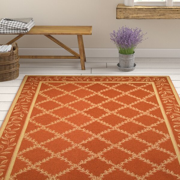 Kinchen Rust/Gold Wilton-Trellis Area Rug by August Grove