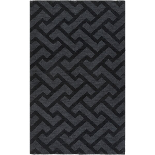 Villegas Hand-Loomed Black Area Rug by Wrought Studio