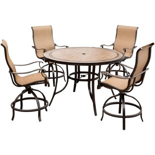 Bucci 5 Pieces High-Dining Set with Umbrella By Fleur De Lis Living