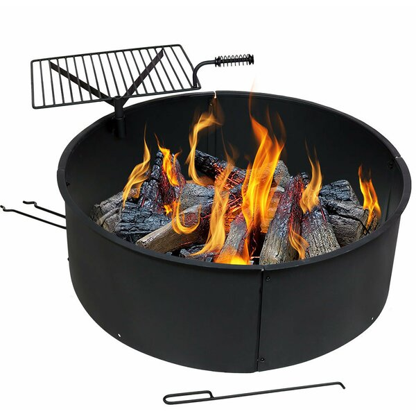 Adella Steel Wood Fire Ring with Rotating Detachable Cooking Grate by Freeport Park