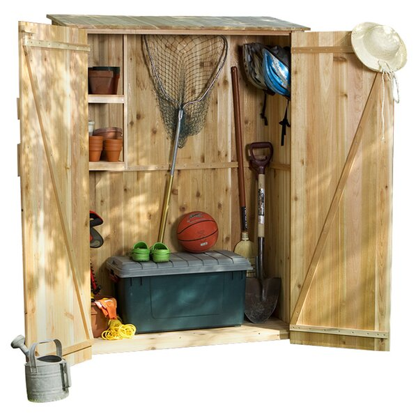 Western Red Cedar 4 ft. 1 in. W x 1 ft. 11 in. D Wooden Vertical Tool Shed by All Things Cedar
