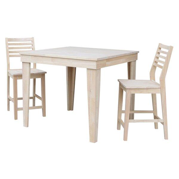 Theodosia 3 Piece Pub Table Set by Highland Dunes