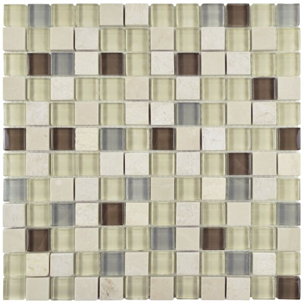 Sierra 0.88 x 0.88 Glass and Natural Stone Mosaic Tile in Cream/Brown by EliteTile