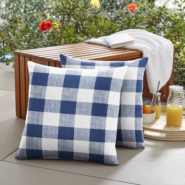 Amberly Buffalo Outdoor Throw Pillow (Set of 2)
