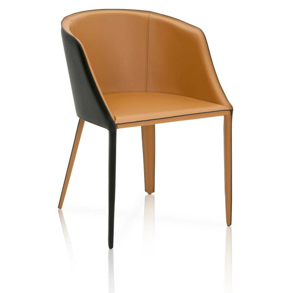 Malik Dual Tone Curved Saddle Upholstered Dining Chair by Brayden Studio