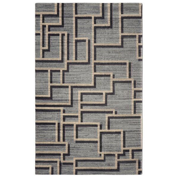 Pacheco Mid-Century Geometric Gray Area Rug by George Oliver