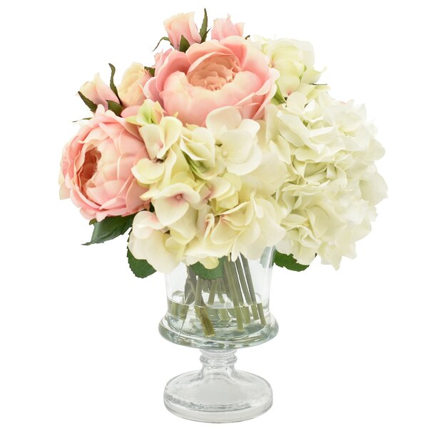 Hydrangea and Rose Centerpiece in Vase by Rosdorf Park