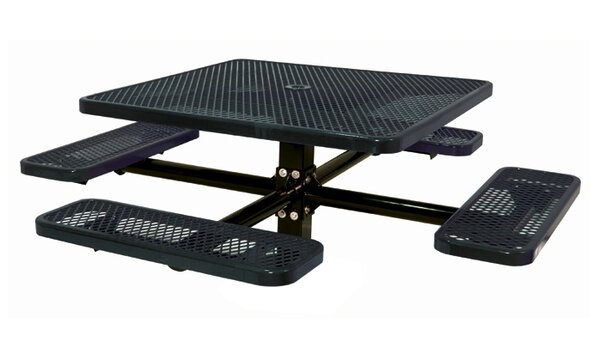 46 Single Pedestal Square Inground Picnic Table with Diamond Pattern by Ultra Play