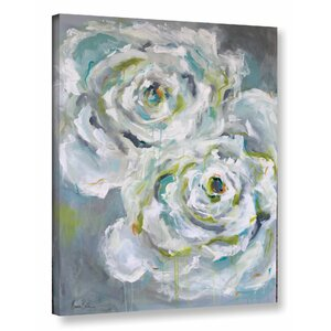 Two White Roses Painting Print on Wrapped Canvas by One Allium Way
