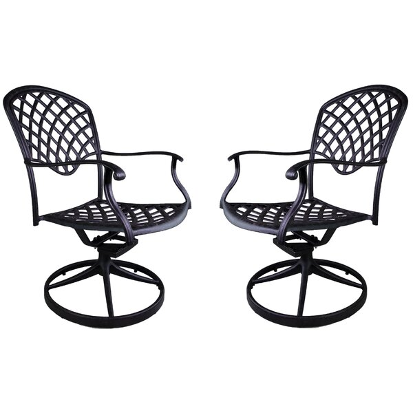 Idalou Swivel Patio Dining Chair (Set of 2) by Fleur De Lis Living