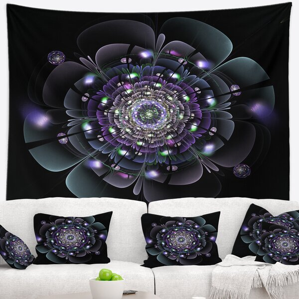 Floral Blue and Black Fractal Flower Tapestry and Wall Hanging by East Urban Home