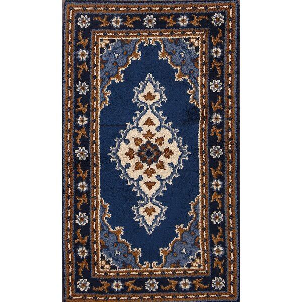 Colchester Classical Rya Sweden Traditional Oriental Hand-Knotted Wool Black/Blue Area Rug by Bloomsbury Market
