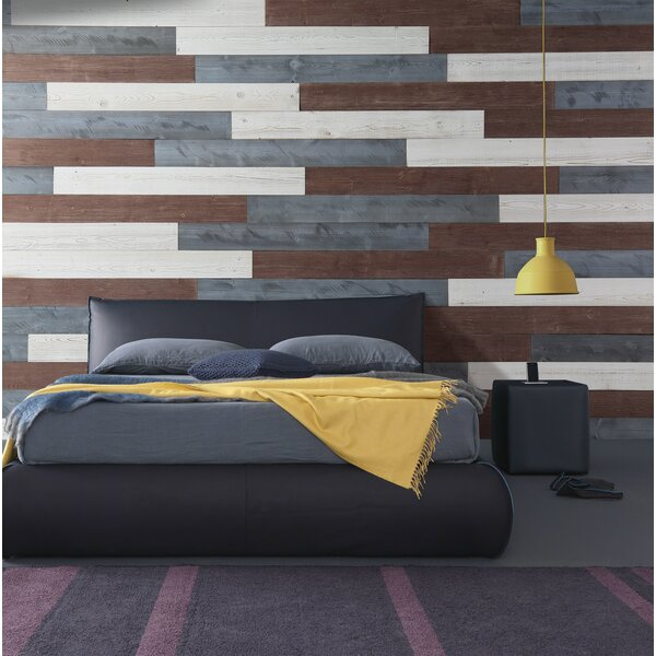 5 Solid Wood Wall Paneling in White/Natural Gray/Old Brown by WoodyWalls