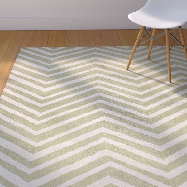 Brant Green / Ivory Chevron Area Rug by Corrigan Studio