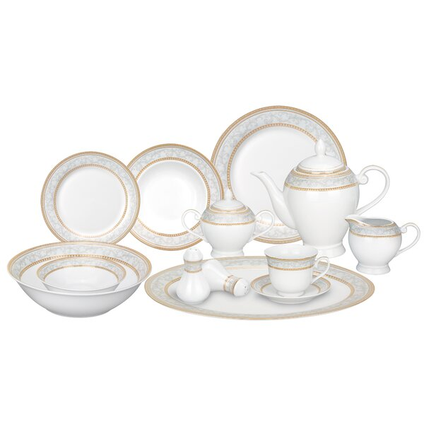 Giada Porcelain 57 Piece Dinnerware Set, Service for 8 by Lorren Home Trends
