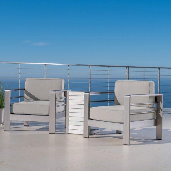 Royalston Outdoor 3 Piece Sunbrella Conversation Set with Cushions by Brayden Studio
