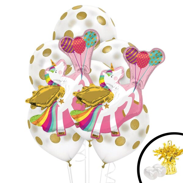 11 Piece Unicorn Jumbo Balloon Bouquet Plastic Disposable Centerpiece Set [NA]