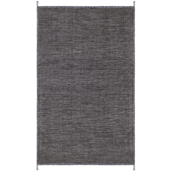 Naveen Handwoven Cotton Gray/Black Area Rug by Bungalow Rose