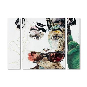 'Audrey' by Ines Kouidis 3 Piece Graphic Art on Wrapped Canvas Set by Trademark Fine Art