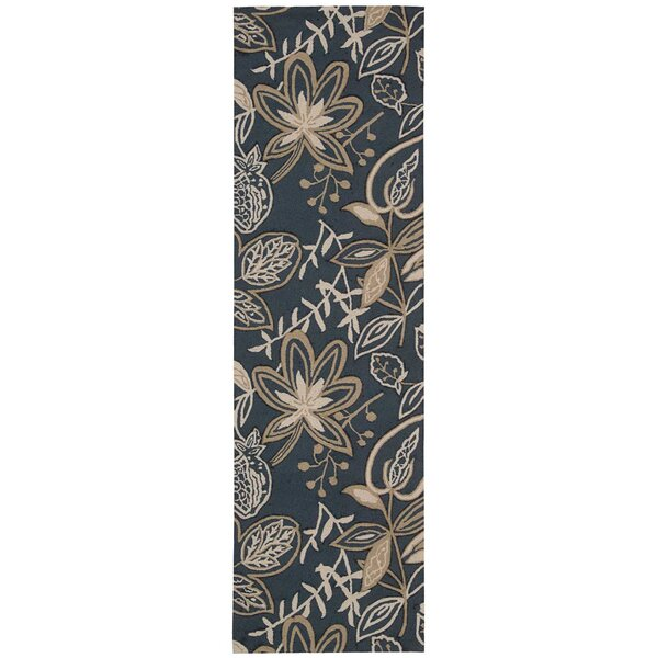 York Hand-Hooked Blue/Beige Area Rug by Charlton Home