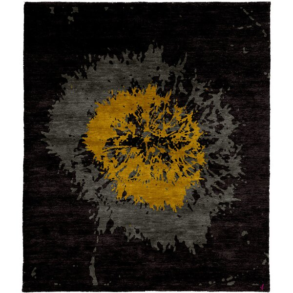One-of-a-Kind Lilliana Hand-Knotted Traditional Style Black/Yellow/Gray 5' x 8' Wool Area Rug