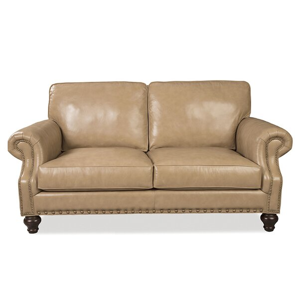 Manolo Genuine Leather 73 Rolled Arm Loveseat
