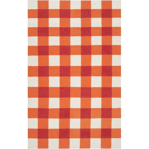 Happy Cottage Hand Woven Wool Orange/White Area Rug by Country Living™ by Surya
