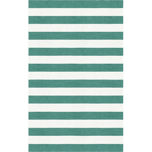 Shappee Stripe Hand-Tufted Wool Teal/White Area Rug by Latitude Run