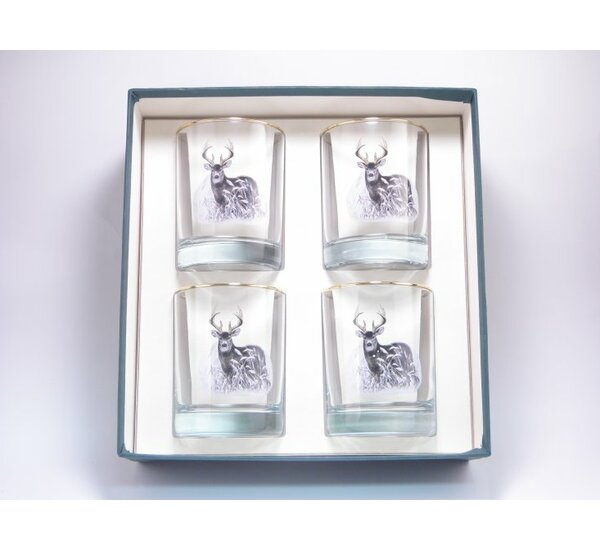 Deer Double 14 oz. Old Fashioned Glass (Set of 4) by Richard E. Bishop