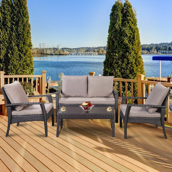 Meltham 4 Piece Rattan Sofa Seating Group with Cushions by Charlton Home