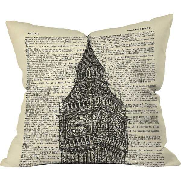 Big Ben on Dictionary Paper Outdoor Throw Pillow by Deny Designs
