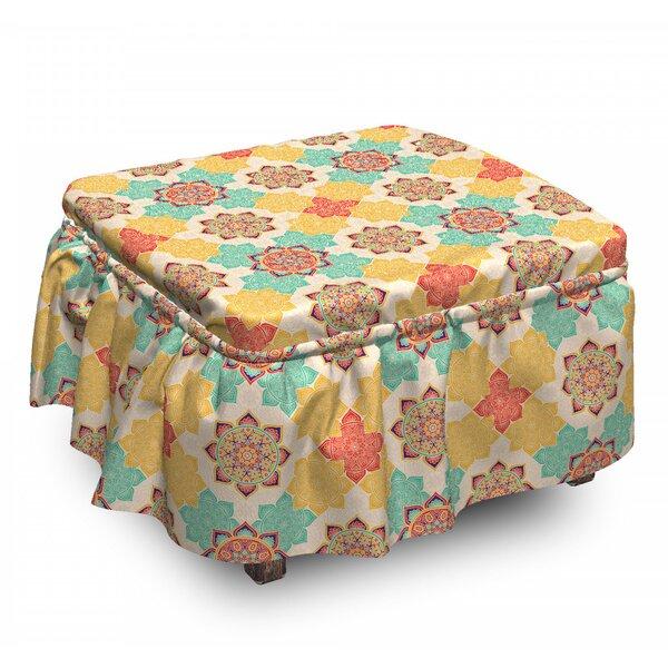 Moroccan Boho Native Culture 2 Piece Box Cushion Ottoman Slipcover Set By East Urban Home