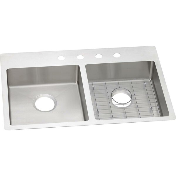 Crosstown 33 L x 22 W Double Basin Undermount/Drop-in Kitchen Sink with Sink Grid by Elkay