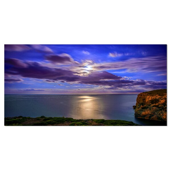 Moon Reflecting in Blue Sea Photographic Print on Wrapped Canvas by Design Art