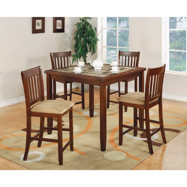 Keenum 5 Piece Counter Height Solid Wood Dining Set with Marble Top by Alcott Hill