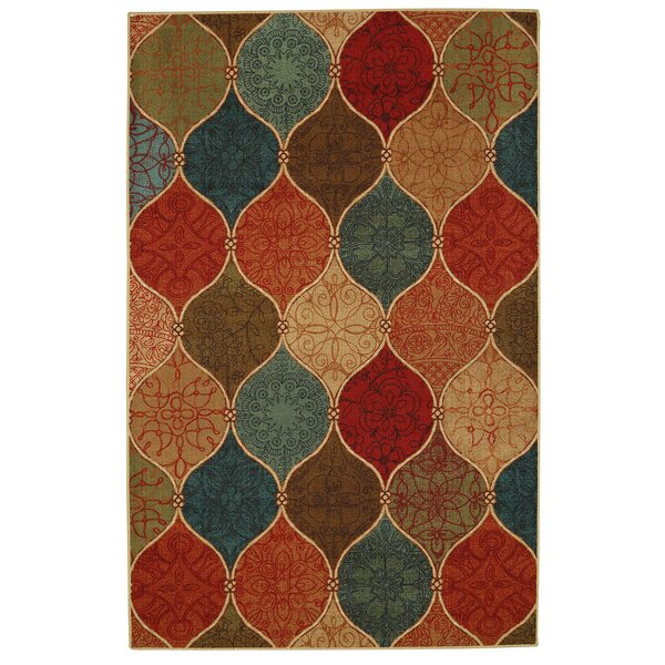 Waukegan Riza Tile Fret Brown/Blue Area Rug by Red Barrel Studio
