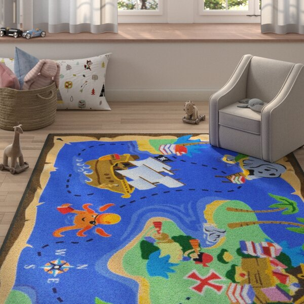 Allport Books Are Treasures Blue Area Rug by Zoomie Kids