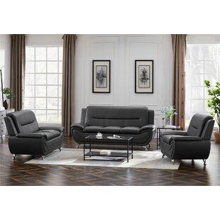 Abdula 3 Piece Faux Leather Living Room Set by Orren Ellis