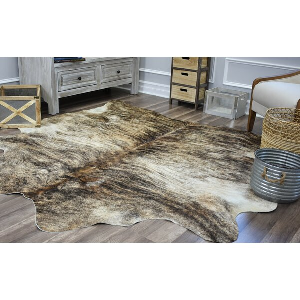 Sarah Hand-Woven Cowhide Black/Beige Area Rug by Millwood Pines