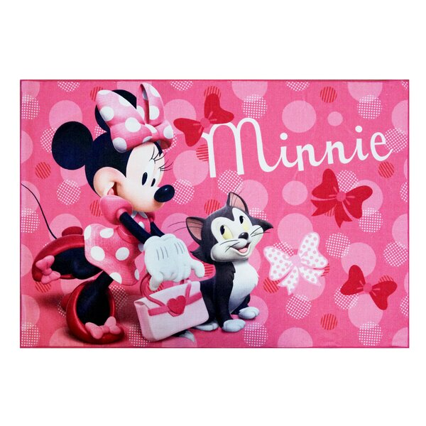Disney Minnie Mouse Polyester Pink Kids Rug by G.A. Gertmenian & Sons