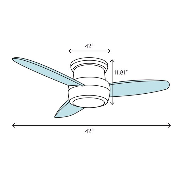 888 Cool Fans 42 4 Blade Flush Mount Ceiling Fan With Pull Chain And Light Kit Included Wayfair
