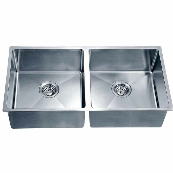 34.19 L x 17.19 W Under Mount Small Corner Radius Equal Double Bowl Kitchen Sink by Dawn USA