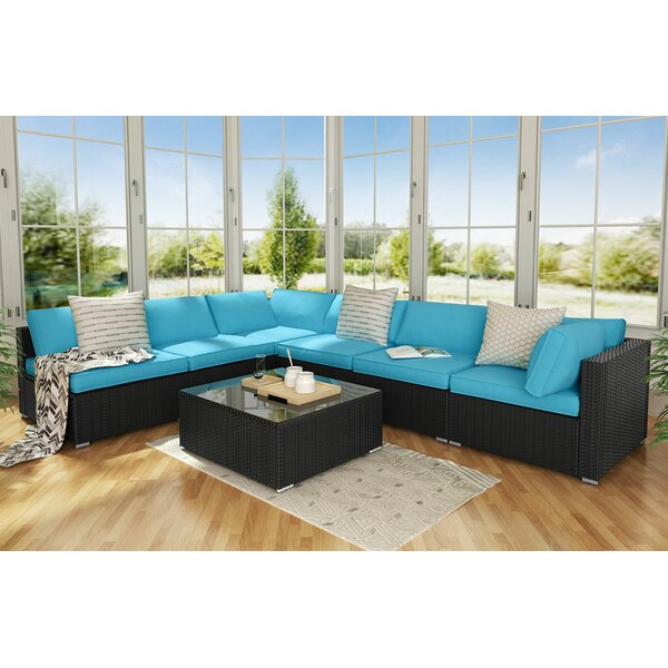 Dennie 7 Piece Rattan Sectional Seating Group with Cushions by Wrought Studio