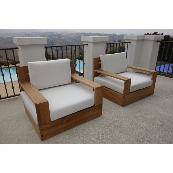 Moody Teak Patio Chair with Sunbrella Cushions (Set of 2) by Rosecliff Heights Rosecliff Heights
