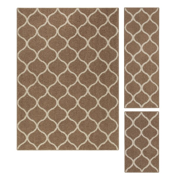 Hershman 3 Piece Brown Area Rug Set by Charlton Home