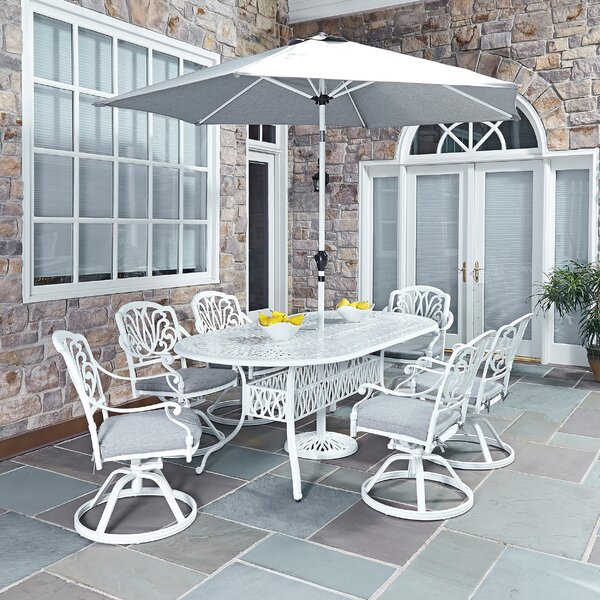 Floral Blossom 9 Piece Dining Set with Cushions by Home Styles