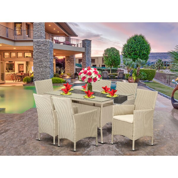 Smithers Patio 7 Piece Dining Set with Cushions by Brayden Studio