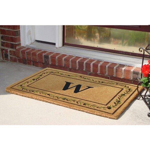 Olive Branch Border Personalized Monogrammed 36 in. x 22 in. Non-Slip Outdoor Door Mat